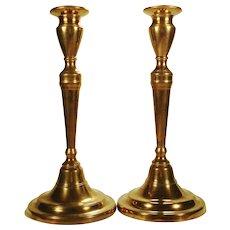 Pair of Bell Metal Neoclassical Candlesticks, c 1800