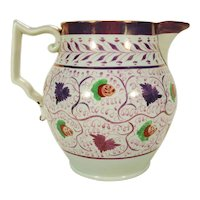 Pearlware Lustre Pitcher,Floral, Strawberries, C 1820