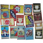 Vintage Broom labels 30 different mint unused variety of designs 1930's-1960's