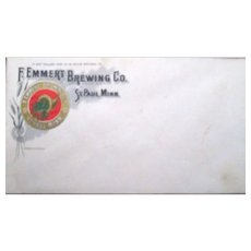 Pre-pro F.Emmert Brewing Company unused company mailing envelope near mint 1910