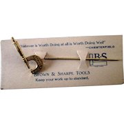 Vintage Brown and Sharpe Tools advertising stick pin-mint on card early 1900's