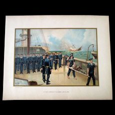 Original 1899 large chromolithograph Civil War-Sinking of the Alabama-June 1864 - Red Tag Sale Item