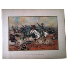 Original 1899 large chromolithograph Civil War-Cavalary Charge-Gains Mill-1862