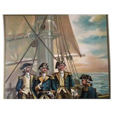 Original 1899 large chromolithograph US Navy Commander In Chief of Fleet-1776