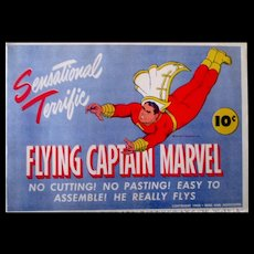 Flying Captain Marvel paper toy mint in original illustrated envelope 1944