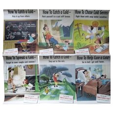 "Disney Film ""How To Catch A Cold"" 6 different posters Kleenex giveaway 1951"