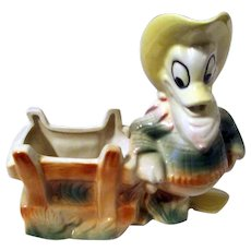Disney's Donald Duck cowboy American Pottery figural planter in near mint 1950's
