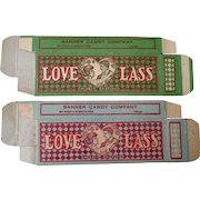 Vintage Love Lass Banner Candy Company set of two boxes 1910-20's near mint