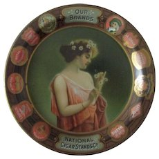 """National Cigars Stands Co Our Brands advertising 6"""" tin tip tray early 1900's"""