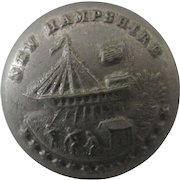 Political Historical New Hampshire State Seal uniform button Albert NY2B