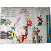 Scarce Nehi Soda Tiny Animal Circus Show premium uncut 1940's