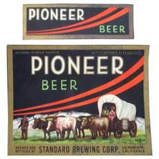 Standard Brewing Company Pioneer Beer bottle labels mint 1937