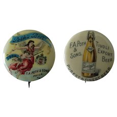 Pre Prohibition F.A, Poth & Son Brewery advertising pins near mint 1890's-1900
