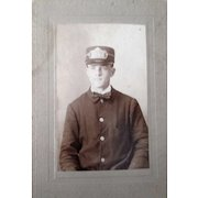 Early Railroad Conductor cabinet card photo stamped Jun 18 1908