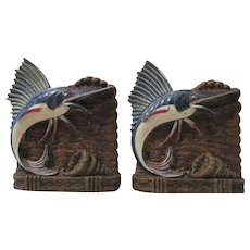 Blue Marlins jumping from water figural mid-century syroco bookends circa 1940's