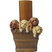 Basket of Four Puppies figural mid-century syroco brush holder circa 1940's