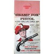 Canada Dry Ginger Ale bottle hanger Disney's Swamp Fox TV show promotion 1959