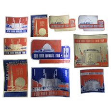New York World's Fair 1939 lot of 10 different embossed labels near mint