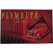 Plymouth automobile 1937 original dealers catalog