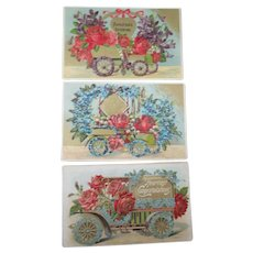 Embossed Flower & Automotive greeting postcards early 1900's