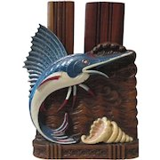Blue Marlins jumping figural mid-century syroco double brush holder circa 1940's