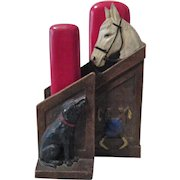 Race Horse in Stable figural mid-century syroco double brush holder circa 1940's