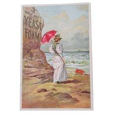 Yeast Foam The World Uses Yeast Foam beach scene advertising sign mid 1890's
