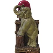 Standing Elephant figural mid-century syroco red brush holder circa 1940's