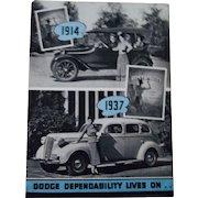 Dodge 1937 original automobile dealers catalog