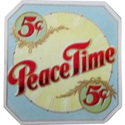 Tobacco embossed PEACE TIME near mint cigar label early 1900's