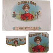 Tobacco embossed CHRISTY GIRL near mint cigar box 3 label set early 1900's