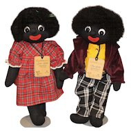 Golliwog Pair Cloth Dolls By Robin Rive