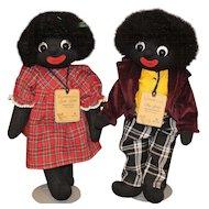 Golliwog Pair Cloth Dolls By Robin Rive