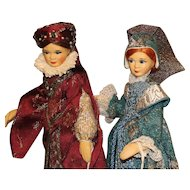 Pair of Old Cottage Dolls - 'Stuart Ladies'