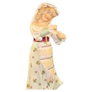 Antique Bisque Figurine With Floral Print Dress