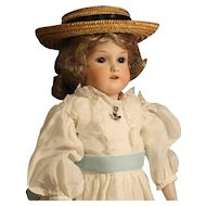 Darling Antique German Bisque Doll - AM 370 - with Antique Straw Hat