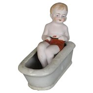 ANTIQUE  BOY  IN  BATHTUB  FIGURINE