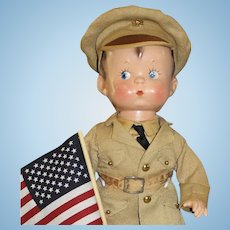 Terrific Vintage Composition 'Skippy'  Doll in Military Outfit