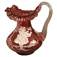 "Fenton Cranberry Glass Pitcher Vase - ""Mary Gregory"""