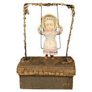Antique German Bisque Swinger Doll / Candy Box