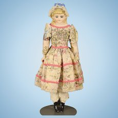 Wonderful Antique German Parian Doll with Glass Eyes and Molded Bonnet