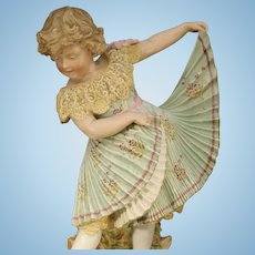 Stunning Antique German Figurine by Heubach - 'Dancing Girl' - large