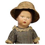 Darling Antique Schoenhut Wood Doll in Black Check Dress