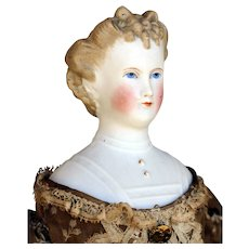 Darling Antique Parian Doll in Brown Print Dress by C.F. Kling & Co.