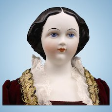 Gorgeous Black Hair - 'Jenny Lind' by Emma Clear - Parian Doll - Humpty Dumpty Doll Hospital