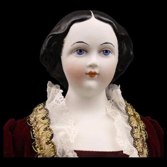 Gorgeous Black Hair - 'Jenny Lind' by Emma Clear - Parian Doll - Humpty Dumpty Doll Hospital