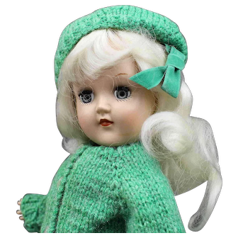 Blonde 'Toni' Doll in Green Sweater with Teddy Bear