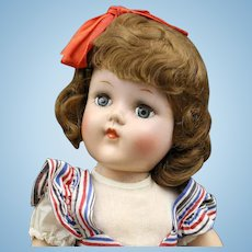 Toni Hard Plastic by Ideal Doll - with red-white-blue striped dress