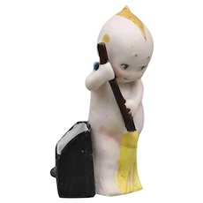 """Rare - Antique Porcelain """"Kewpie"""" - Sweeping with a Broom"""