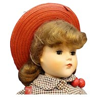 """Very Mint 'Nanette"""" Hard Plastic Doll with Red Hat & Purse"""